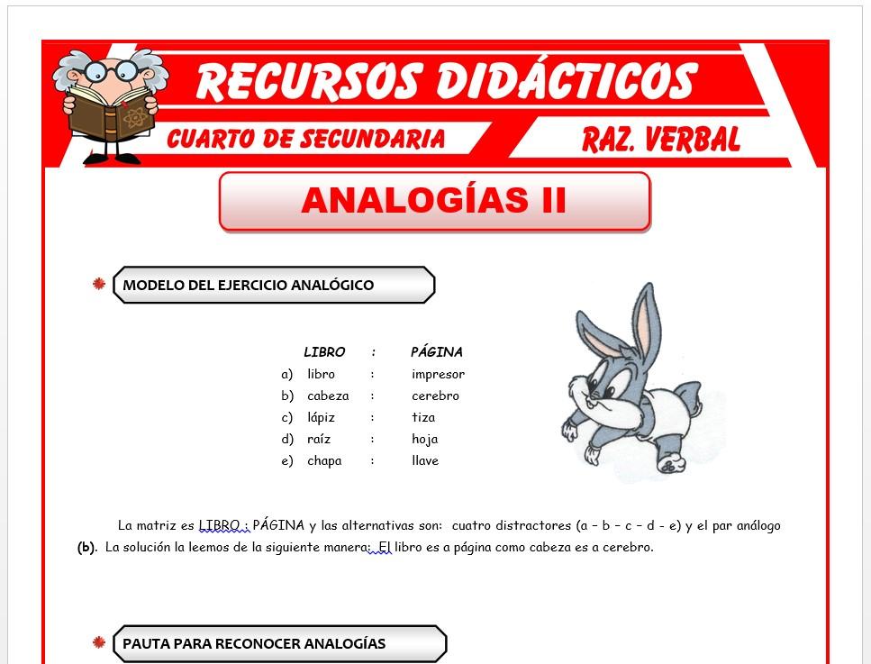 Ficha de Pautas para Reconocer Analogías para Cuarto de Secundaria