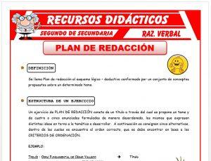 Ficha de Plan de Redacción para Segundo de Secundaria