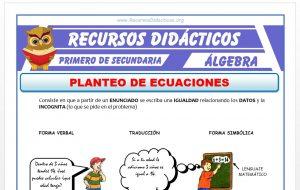Ficha de Planteo de Ecuaciones ejercicios para Primero de Secundaria