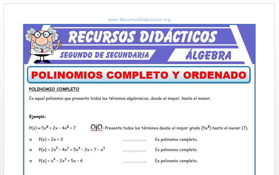 Ficha de Polinomio Completo y Ordenado para Segundo de Secundaria