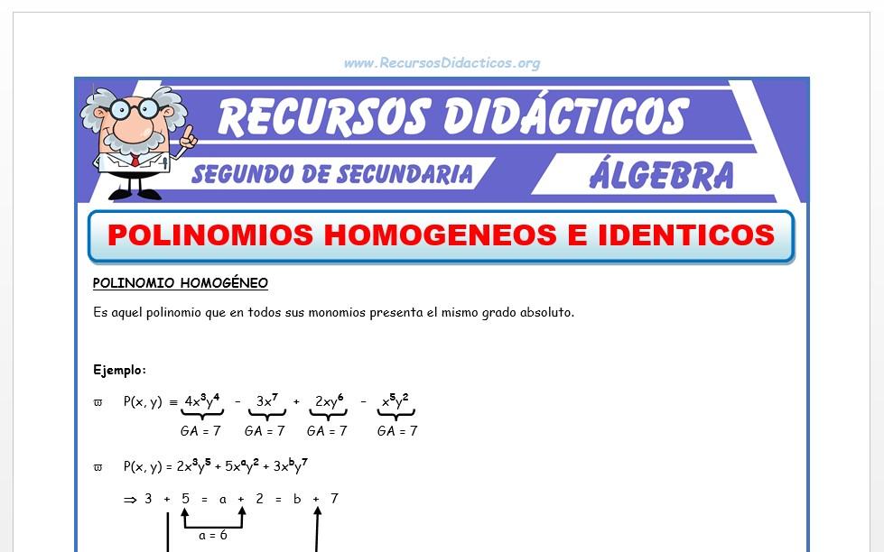 Ficha de Polinomio Homogéneo e Identico para Segundo de Secundaria