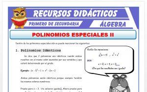 Ficha de Polinomios Identicos para Primero de Secundaria