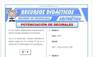 Ficha de Potenciación de Decimales para Segundo de Secundaria