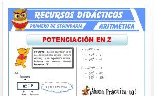 Ficha de Potenciación de Números Enteros para Primero de Secundaria