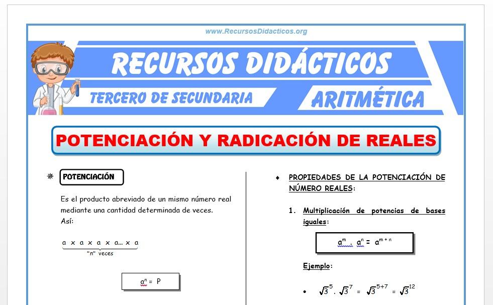 Ficha de Potenciación y Radicación de Números Reales para Tercero de Secundaria