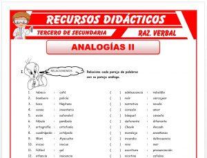 Ficha de Práctica de Analogías para Tercero de Secundaria