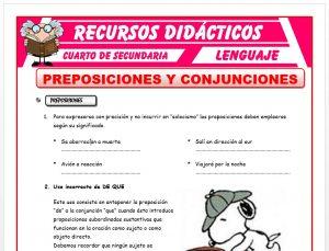 Ficha de Preposiciones y Conjunciones para Cuarto de Secundaria