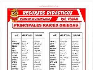 Ficha de Principales Raices Griegas para Primero de Secundaria