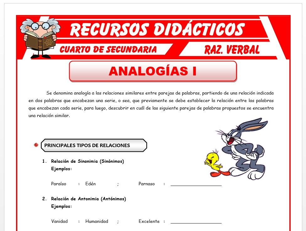 Ficha de Principales Relaciones Analógicas para Cuarto de Secundaria