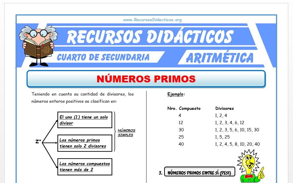 Ficha de Problemas con Números Primos para Cuarto de Secundaria