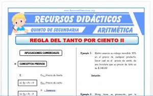Ficha de Problemas de Aplicaciones Comerciales para Quinto de Secundaria