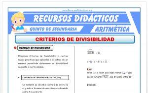 Ficha de Problemas de Criterios de Divisibilidad para Quinto de Secundaria
