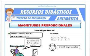 Ficha de Problemas de Magnitudes Proporcionales para Tercero de Secundaria
