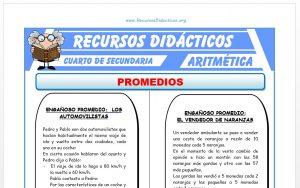 Ficha de Problemas de Promedios para Cuarto de Secundaria