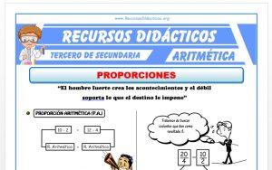 Ficha de Problemas de Proporciones para Tercero de Secundaria