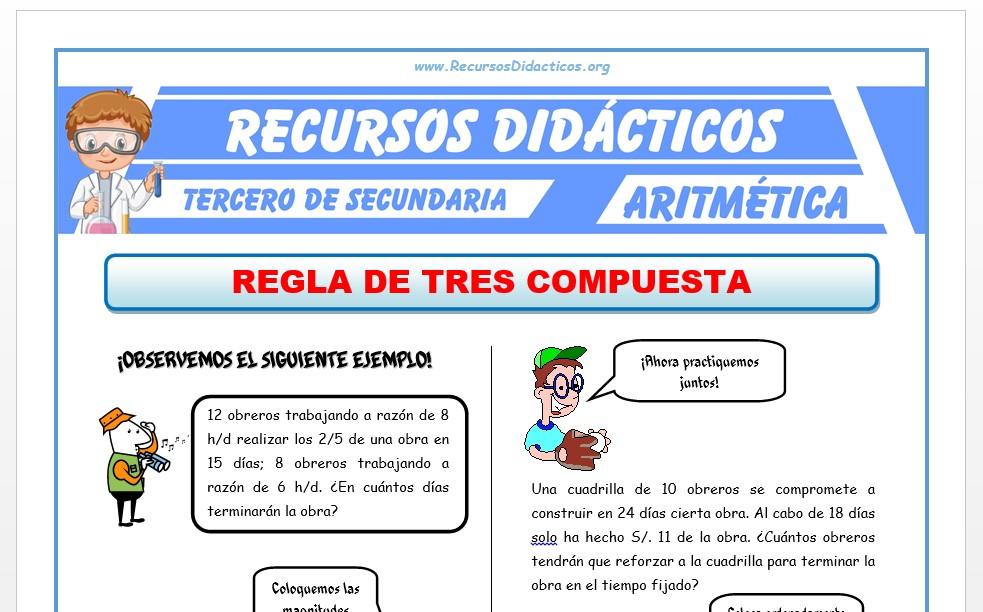 Ficha de Problemas de Regla de Tres Compuesta para Tercero de Secundaria