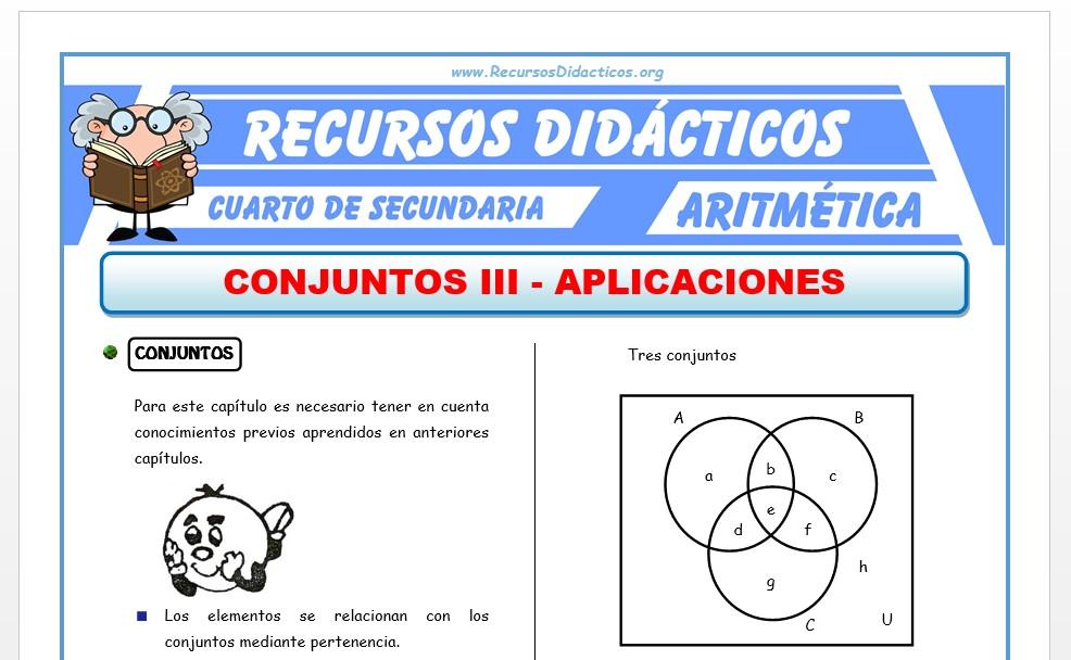 Ficha de Problemas de conjuntos para Cuarto de Secundaria
