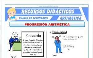Ficha de Progresión Aritmética para Quinto de Secundaria