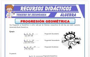 Ficha de Progresión Geométrica para Tercero de Secundaria