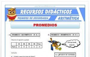 Ficha de Promedio Aritmético y Geométrico para Primero de Secundaria