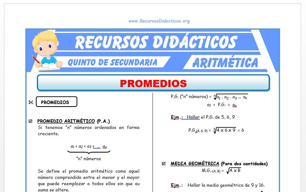 Ficha de Promedios ejercicios para Quinto de Secundaria