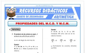 Ficha de Propiedades del MCD y MCM para Cuarto de Secundaria