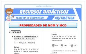 Ficha de Propiedades del MCM y MCD para Tercero de Secundaria