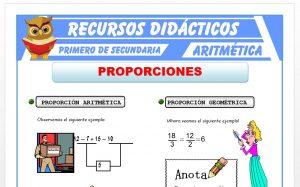 Ficha de Proporción Aritmética y Geométrica para Primero de Secundaria