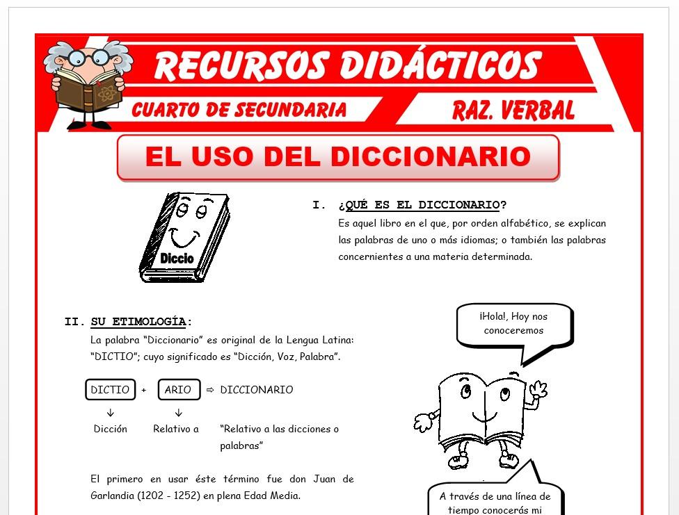 Ficha de Que es el Diccionario para Cuarto de Secundaria