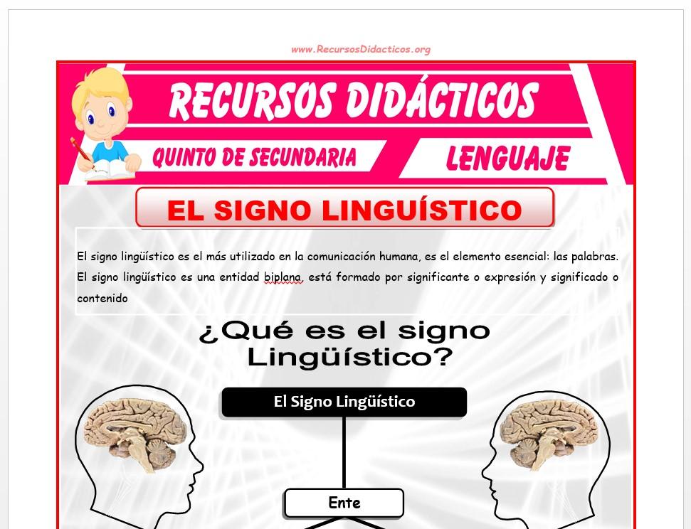 Ficha de Que es el Signo Linguistico para Quinto de Secundaria