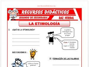 Ficha de Que es la Etimología para Segundo de Secundaria