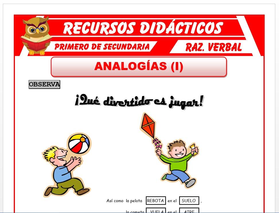 Ficha de Que es una Analogía para Primero de Secundaria