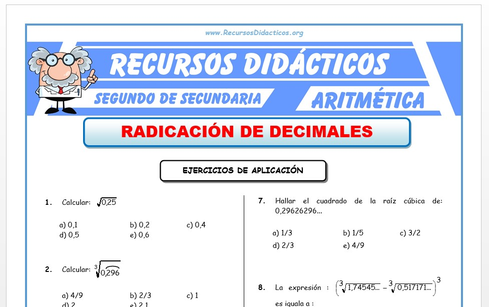 Ficha de Radicación de Decimales para Segundo de Secundaria