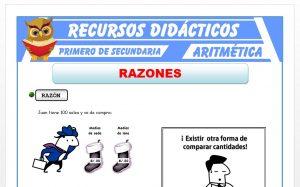 Ficha de Razón Aritmética y Geométrica para Primero de Secundaria
