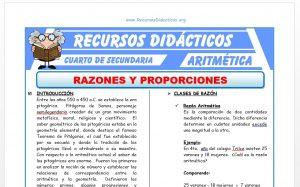 Ficha de Razones y Proporciones para Cuarto de Secundaria