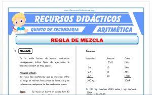 Ficha de Regla de Mezcla para Quinto de Secundaria