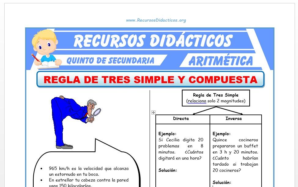 Ficha de Regla de Tres Simple y Compuesta para Quinto de Secundaria