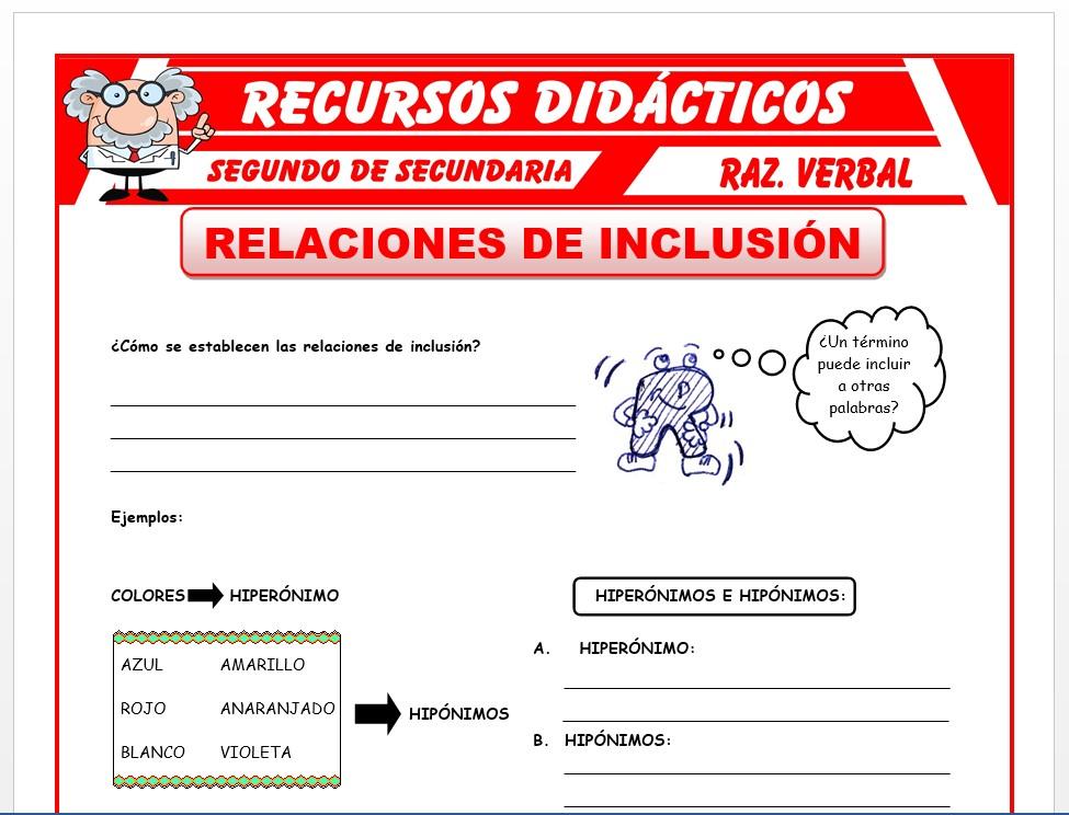 Ficha de Relación de Inclusión para Segundo de Secundaria