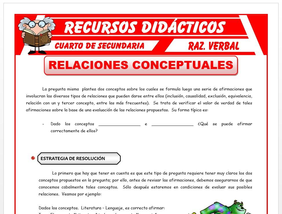 Ficha de Relaciones Conceptuales para Cuarto de Secundaria