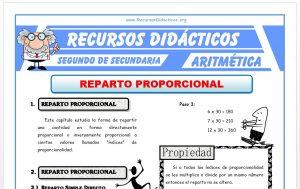 Ficha de Reparto Proporcional Simple y Compuesto para Segundo de Secundaria
