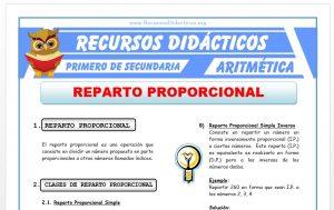 Ficha de Reparto Proporcional para Primero de Secundaria