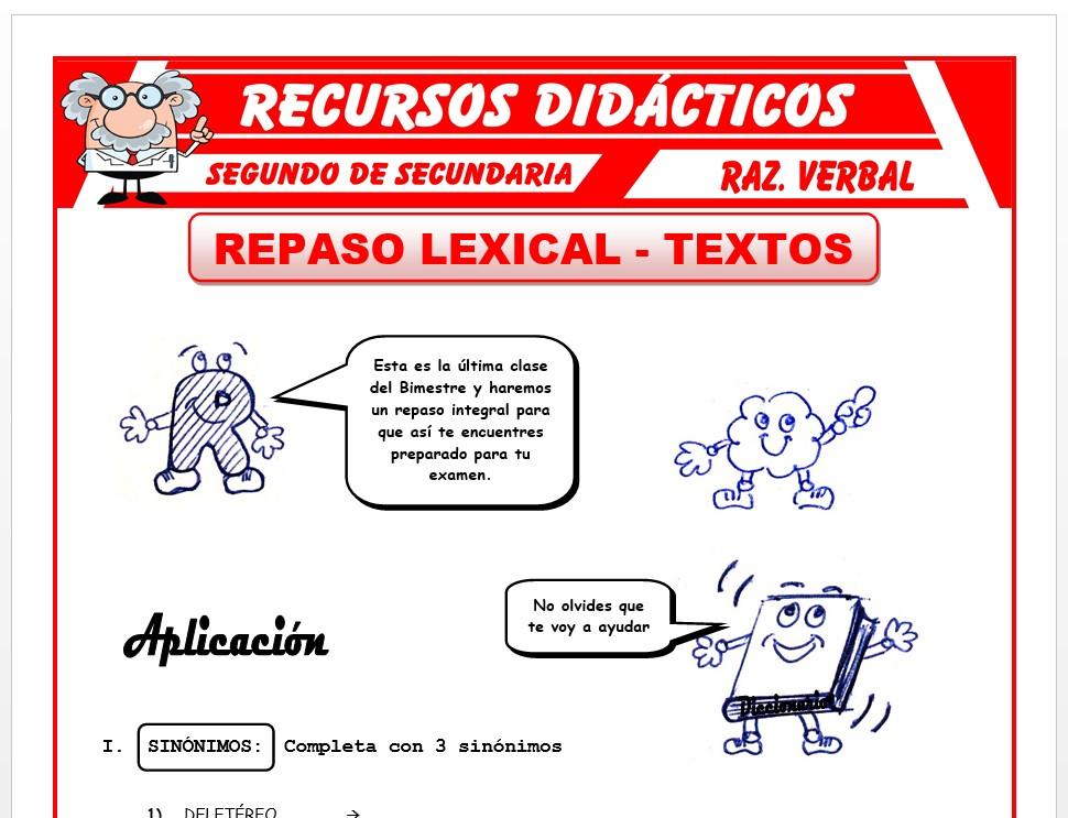 Ficha de Repaso Lexical y Textos para Segundo de Secundaria