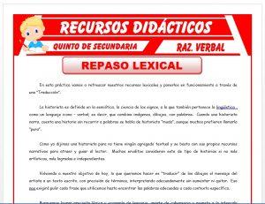 Ficha de Repaso de Razonamiento Verbal para Quinto de Secundaria