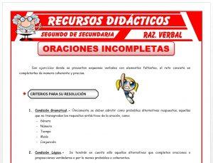 Ficha de Resolución de Oraciones Incompletas para Segundo de Secundaria