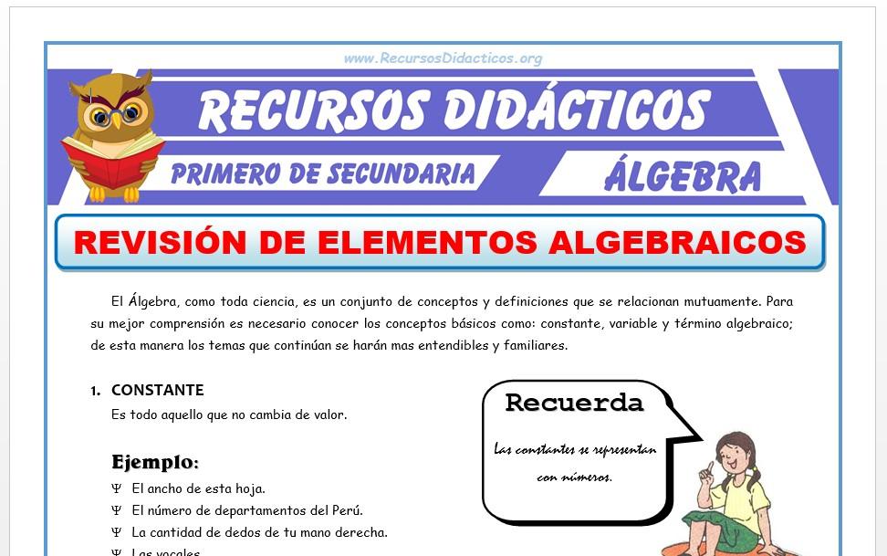 Ficha de Revisión de Elementos Algebraicos para Primero de Secundaria