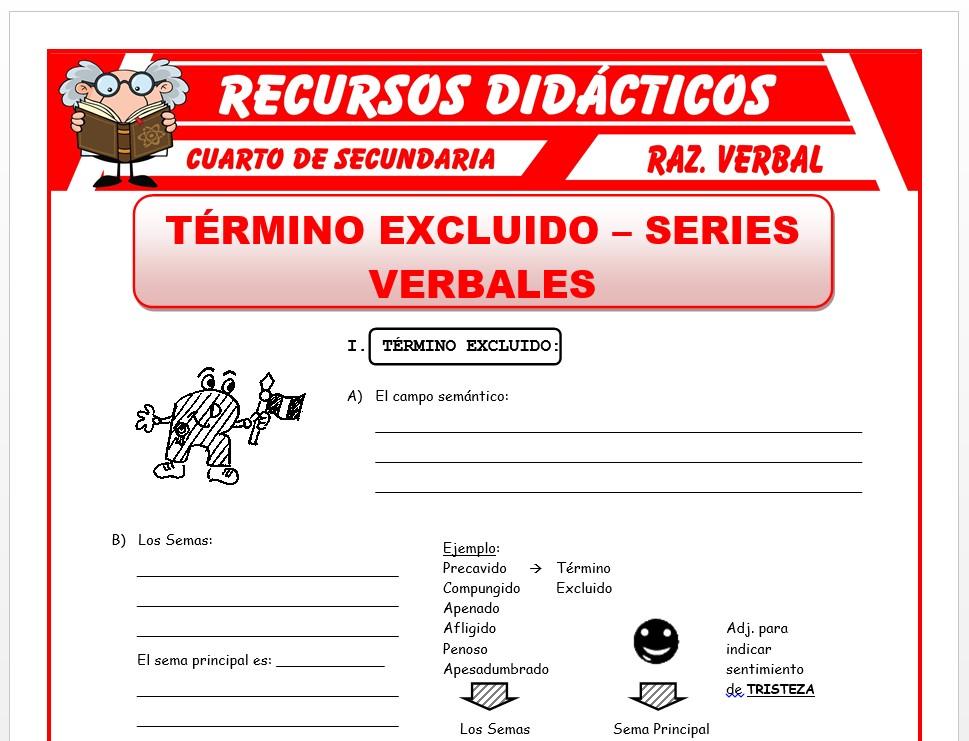 Ficha de Series Verbales y Termino Excluido para Cuarto de Secundaria