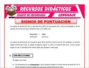 Ficha de Signos de Puntuación para Cuarto de Secundaria