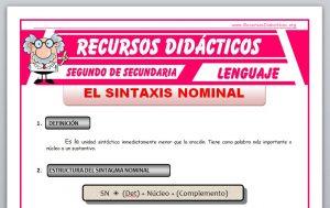 Ficha de Sintaxis Nominal para Segundo de Secundaria