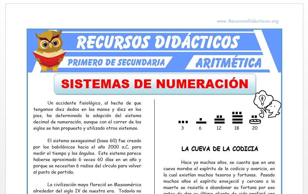 Ficha de Sistemas de Numeración para Primero de Secundaria