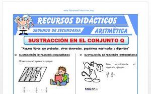 Ficha de Sustracción de Fracciones para Segundo de Secundaria